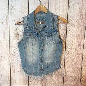 3/25📍MAURICES Denim Button up blue Vest Sz S